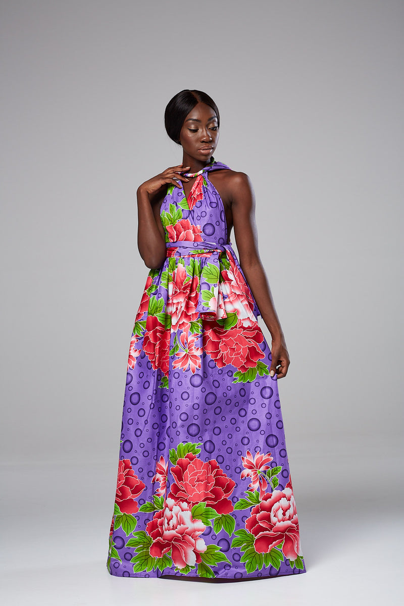 African Print Purple Infinity Multiway Maxi Dress - SAMIRA