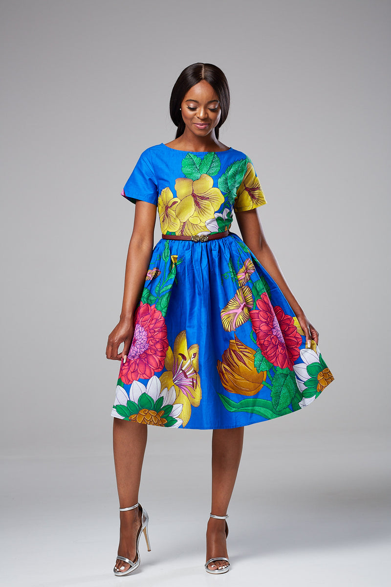 Laviye african print midi dress