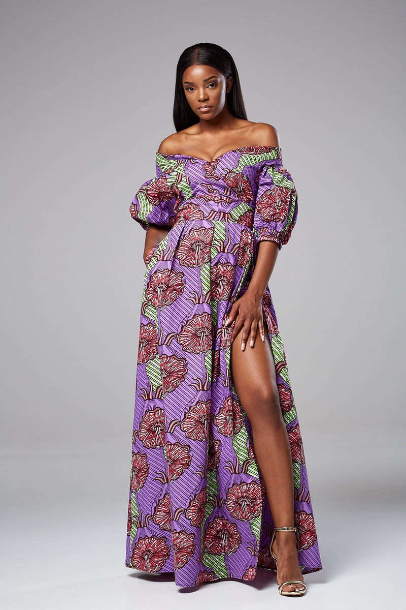 ELSA African Print Off Shoulder Maxi Dress with Slit