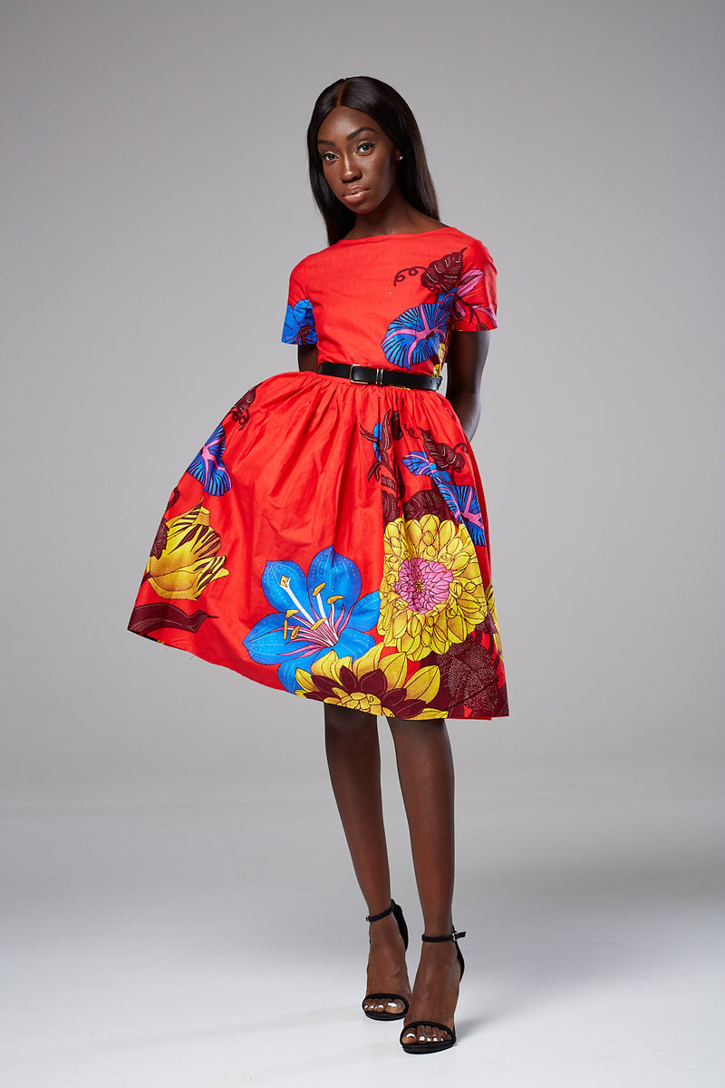 (Pre-Order, Ships in 3-4 Weeks) African Print Short Sleeved Fit and Flare Midi dress - Layla