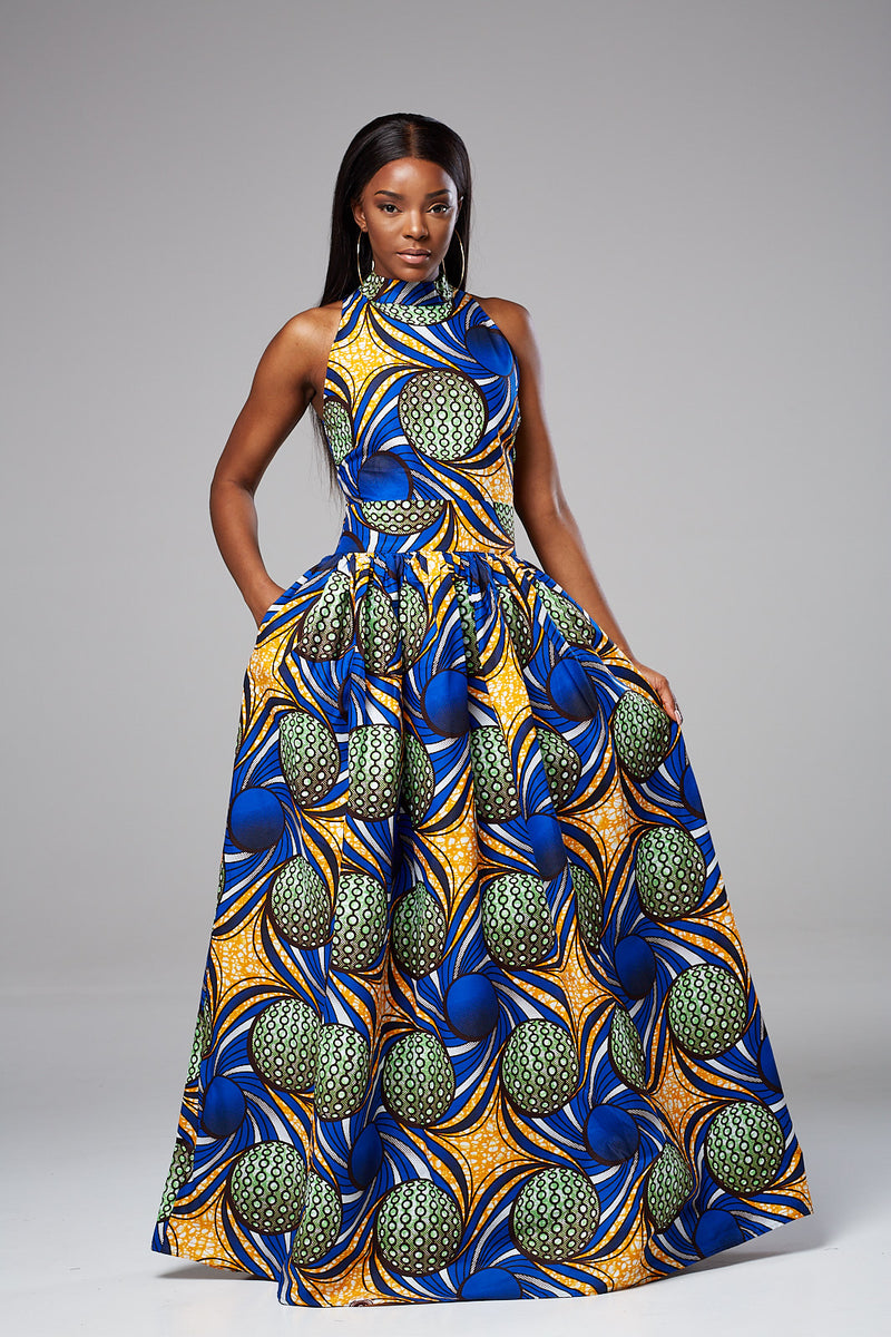 African Print Turtleneck Maxi Dress - Sandra