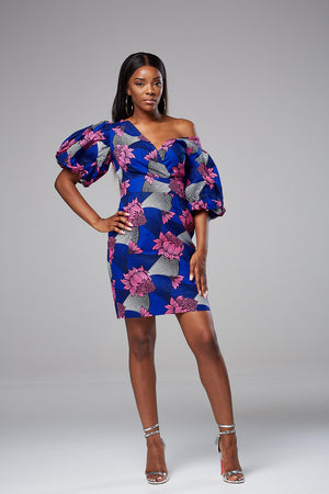 African Print Power Shoulder Bardot Mini dress - Aleesha