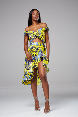 African Print Ruffle side slit pencil skirt set Alicia