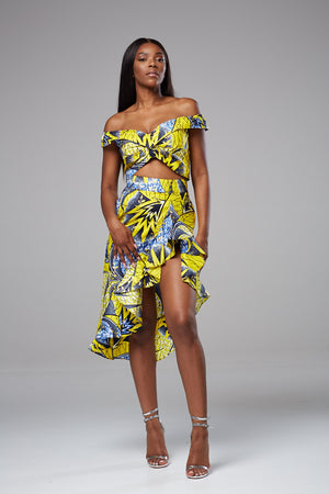 African Print Bandeau Crop Top Bardot Off-shoulder - Alicia