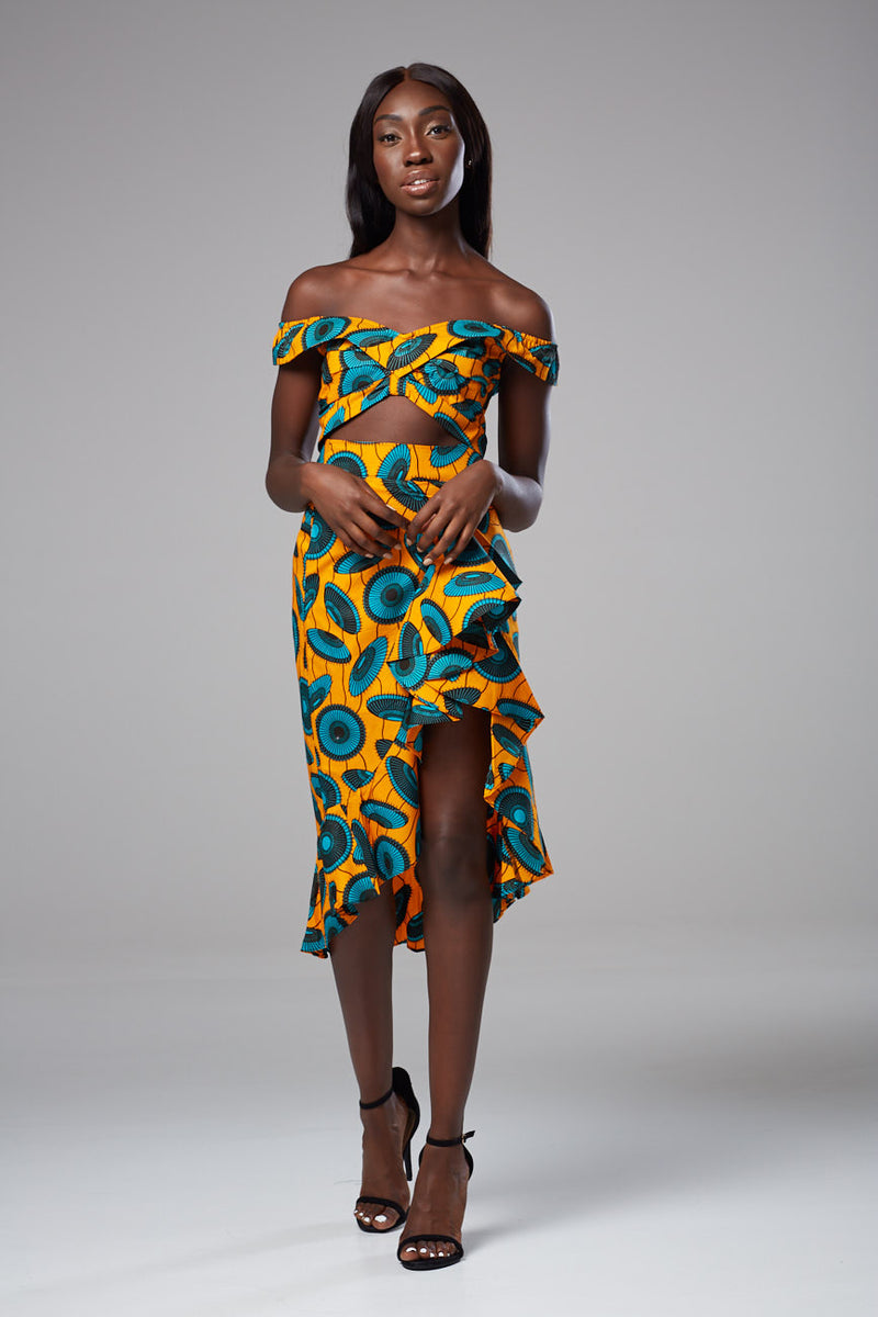 African Print Bandeau Crop Top Bardot Off-shoulder - Serena