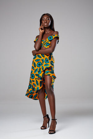 African Print Ruffle side slit pencil skirt set Serena