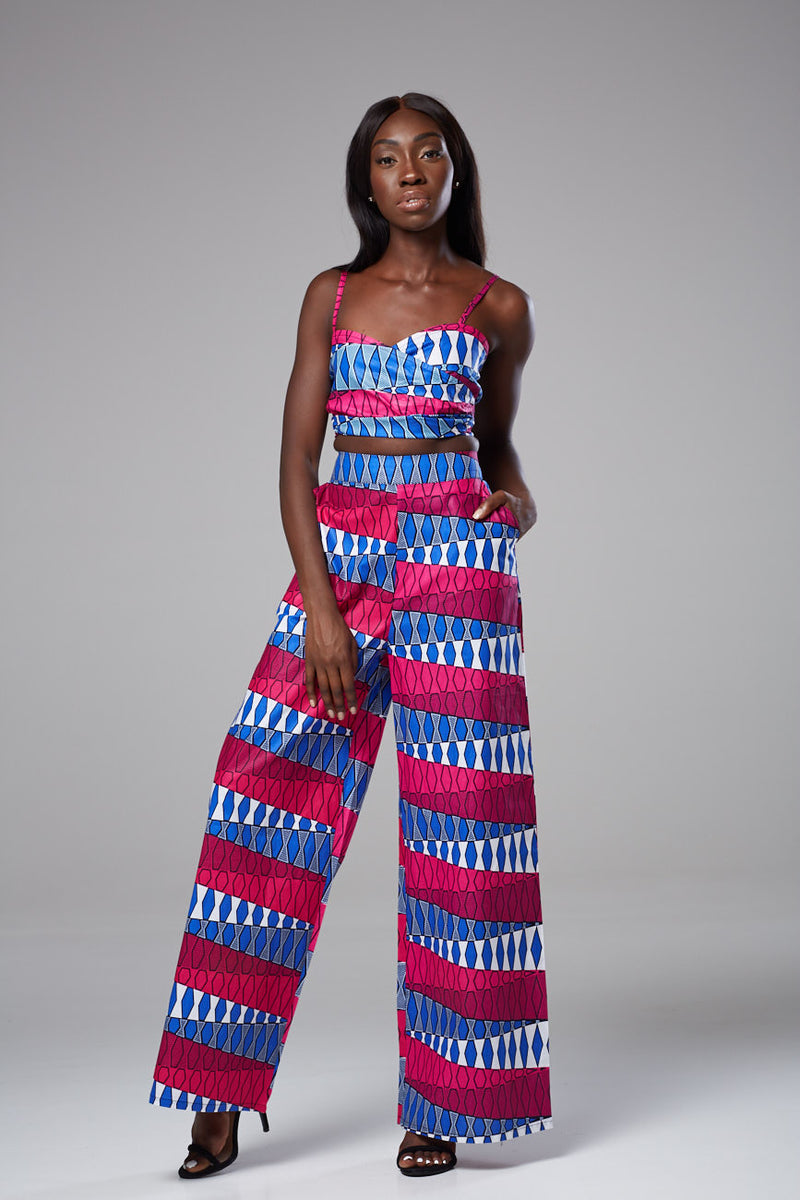 African Print High-waist Wide Leg Pants - Nola