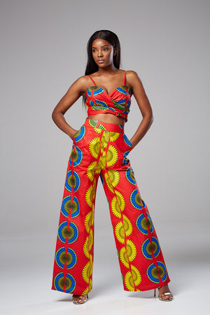 African Print Cami Crop Top & Wide Leg Pant Set - Ivanna