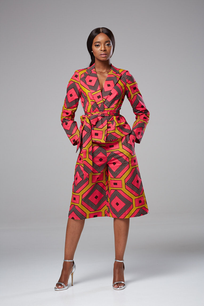 African Print Multicolored High Waist Culottes - Lisa