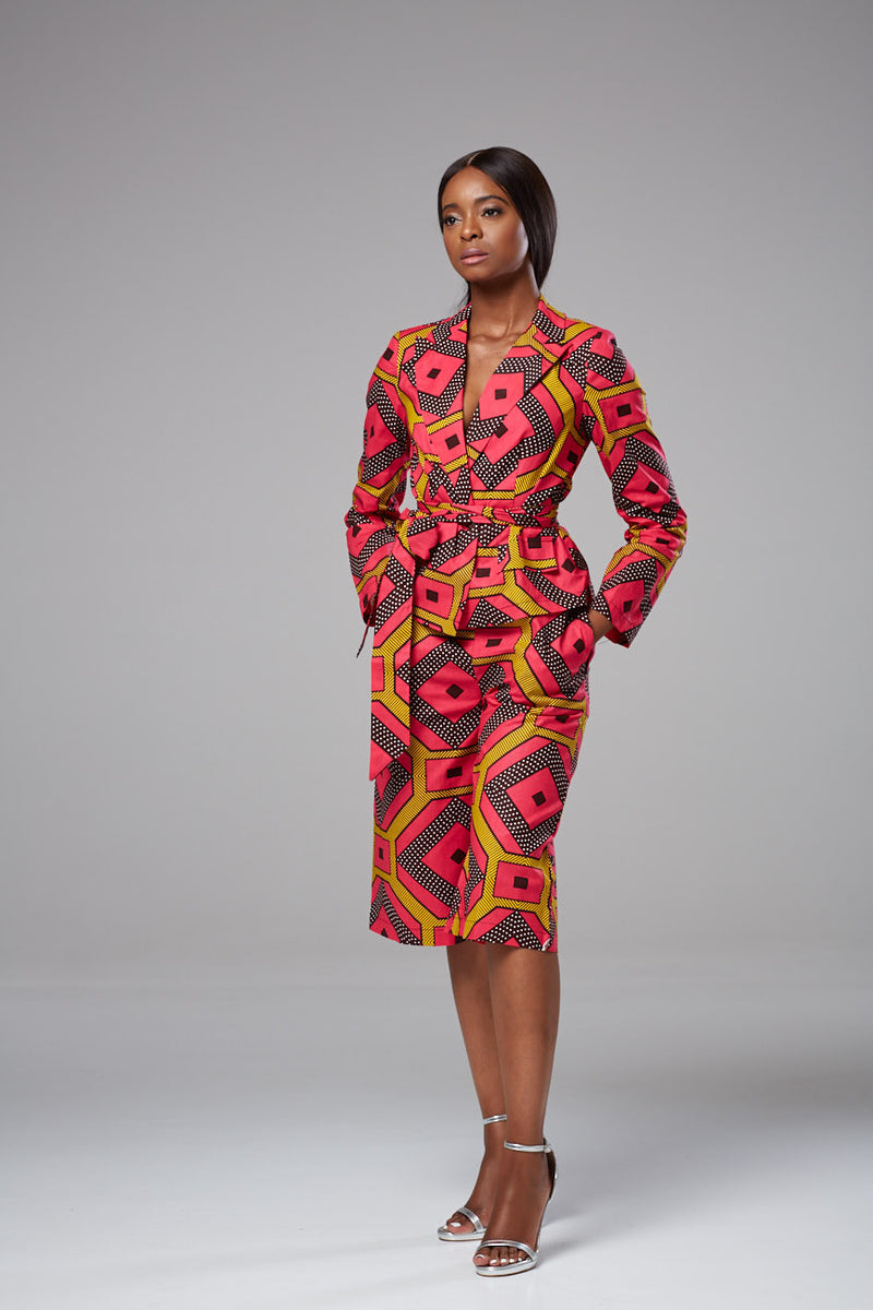 African Print Long Sleeved Wrap Top Blazer with Sash Belt - Liza