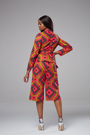 African Print Long Sleeved Wrap Top Blazer with Sash Belt - Lisa