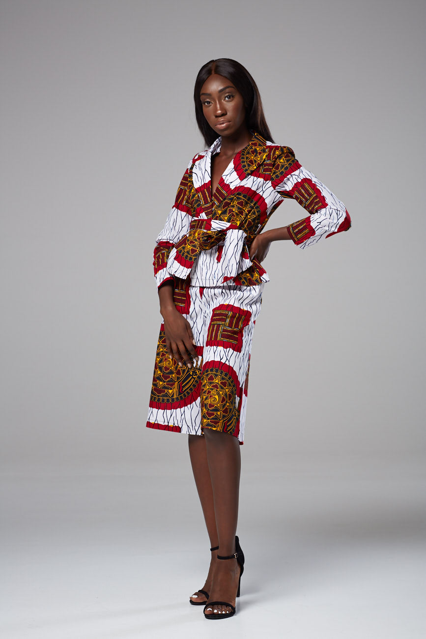 African Print Long Sleeved Wrap Top Blazer with Sash Belt Dashiki Blouse - Zelda
