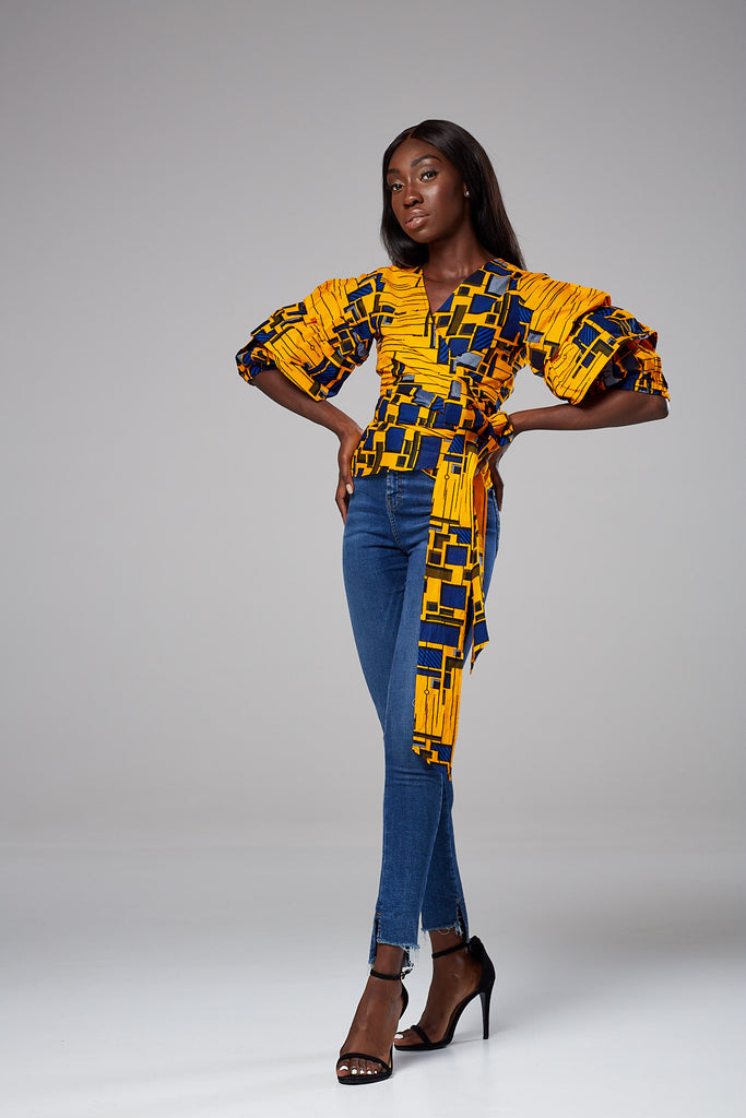 African Print Ruffle Tiered Sleeve Wrap Top - Lucia
