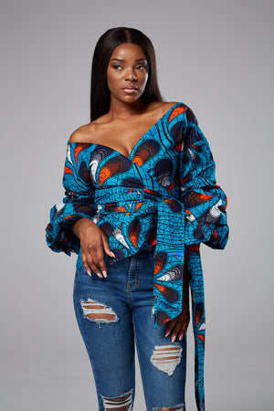 African Print Exaggerated Sleeve Surplice Blouse With Bow Tie - Valentina
