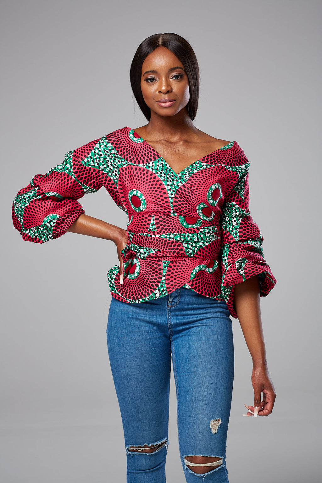 African Print Ruched Sleeve Bow Tie Waist Surplice Blouse - Dahlia