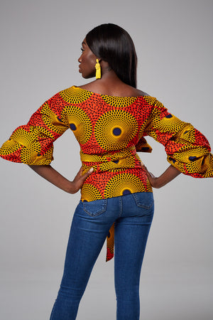 African Print Ruched Sleeve Bow Tie Waist Surplice Blouse - Nessa