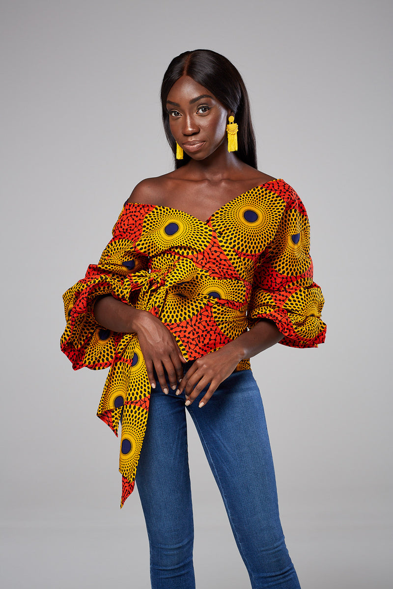 Nessa African Print Ruched Sleeve Bow Tie Waist Surplice Blouse