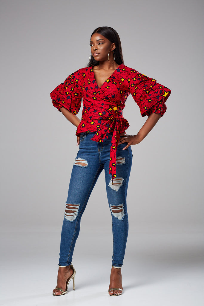 African Print Ruffle Tiered Sleeve Wrap Top - Octavia