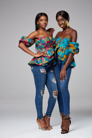African Print Off Shoulder Top - Anita