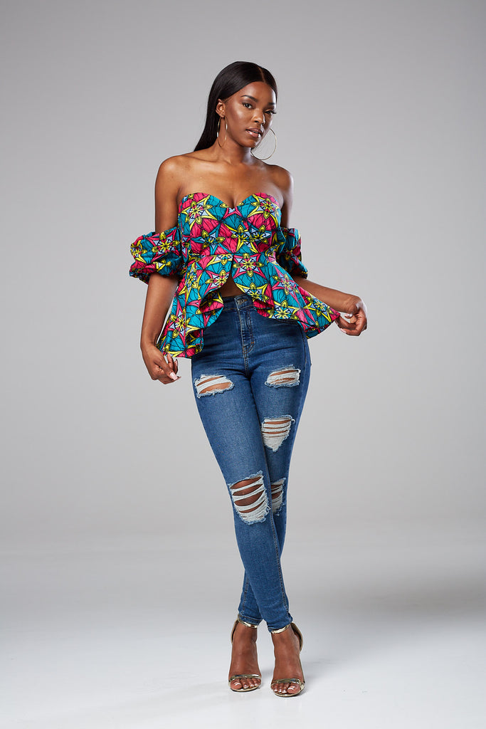 Kimora African Print Off Shoulder Top
