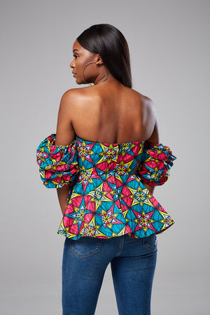 Ankara Print Off Shoulder Top - Kimora