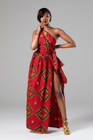 (Pre-Order, Ships in 3-4 Weeks) African Print Red Multiway Infinity Maxi Dress - Cordelia