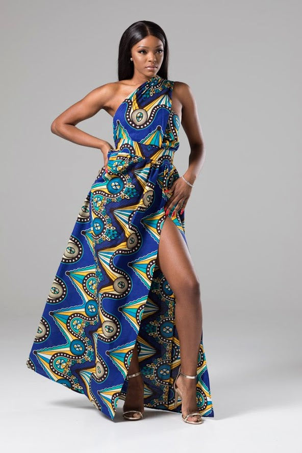 LORENA African Print Blue Multiway Maxi Dress
