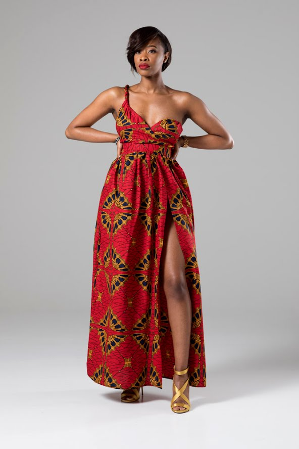 African Print Red Multiway Maxi Dress - CORDELIA