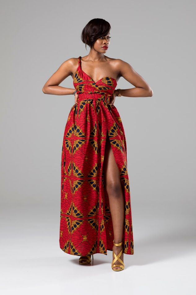 CORDELIA African Print Red Multiway Maxi Dress