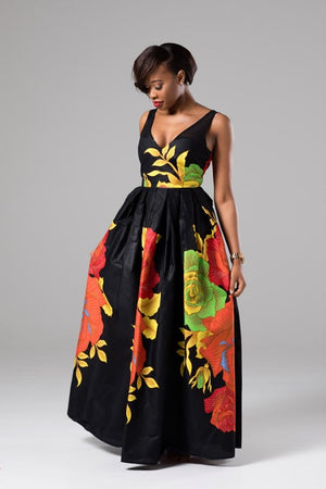 African Ankara Wax Print Sweetheart Maxi Dress With Mesh Detail - Angelina