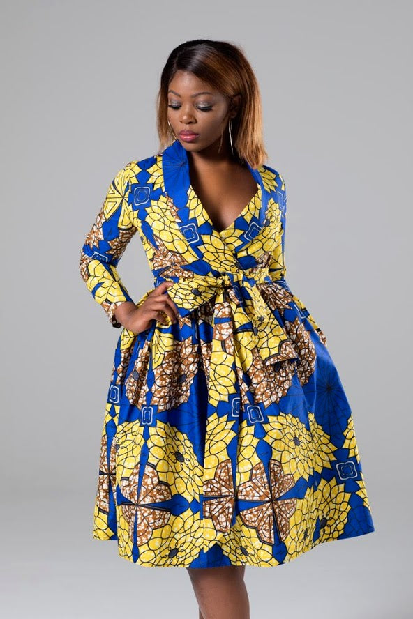African Print Tie Wrap Fit & Flare Midi Dress - Marina