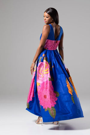 Blue African Print Sweetheart Maxi Dress With Mesh Detail - Gabriella