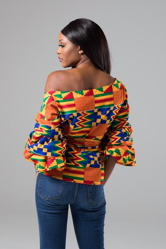 Lola Kente African Print Ruffle Tiered Sleeve Wrap Top