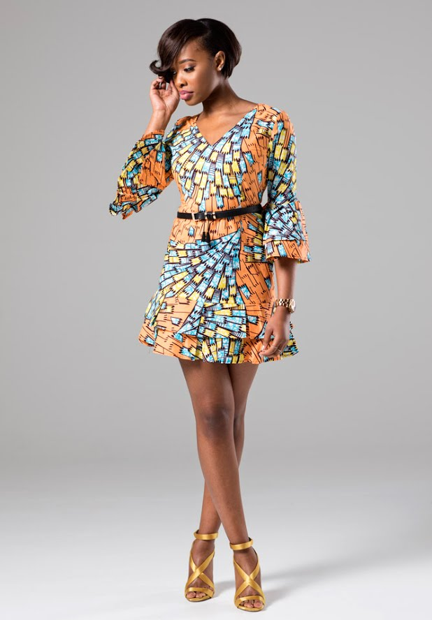 ALEXINA V-Neck African print Shift Dress with Ruffle Sleeves