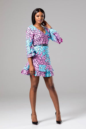 African V-Neck Shift Dress with Ruffle Sleeves - Tyra