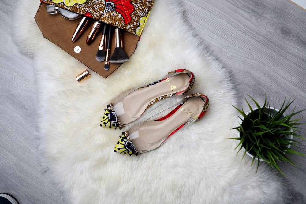(Pre-Order, Ships in 3-4 Weeks) African Print Clear Panel Flats with Spikes ELENA
