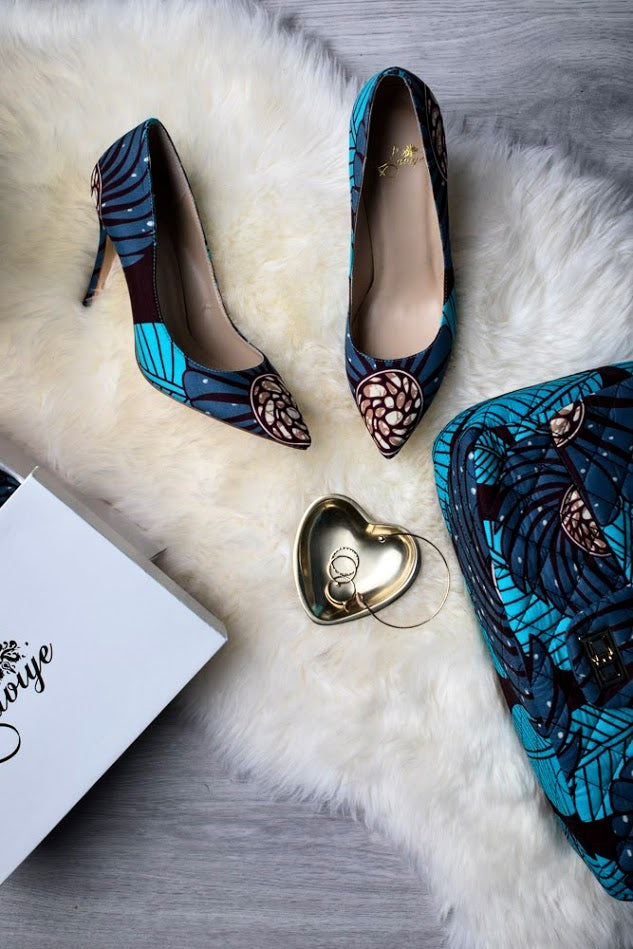 (Pre-Order, Ships in 3-4 Weeks) African Print Stiletto Pumps - Gianna (100 mm)