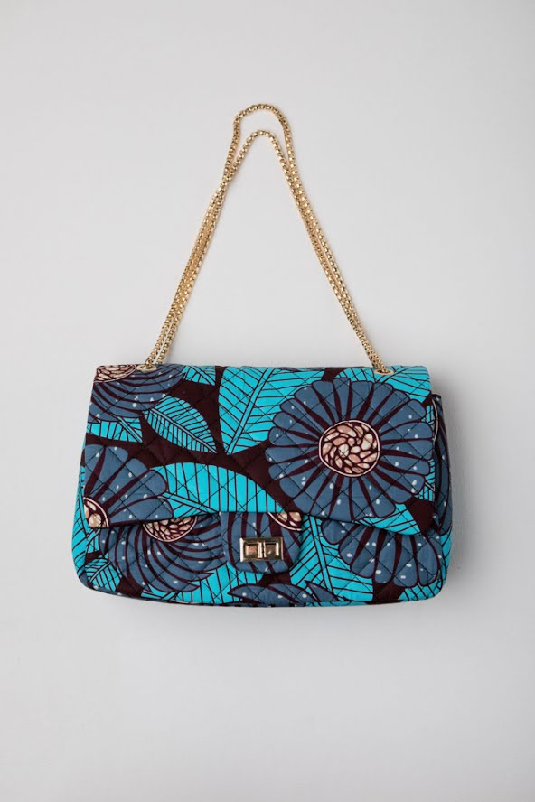 African Print Gianna Blue Quilted Twist Lock Shoulder Handbag