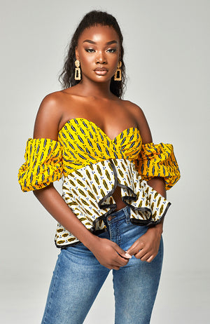 Ankara African Print Sexy Off Shoulder Peplum Yellow Top - Corina