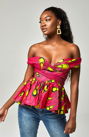 Ankara African Print Mulitway Infinity Pink Sexy Casual Top - Ariana