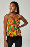 Kente African Print Sleeveless Corset Peplum Orange Blouse - Kenya