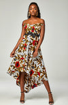Ankara African Print High-low Off-shoulder Dress Embroider Waistband - Jella