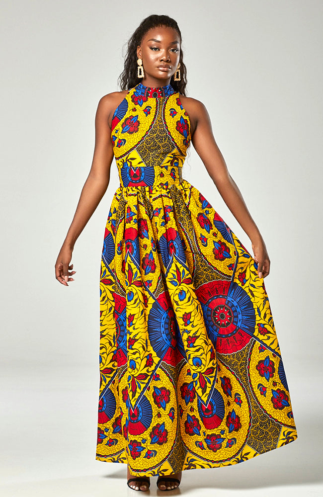 African Wax Print Sleeveless Turtleneck Ankara Maxi Dress - Zilia