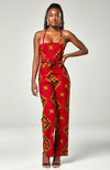 African Print Ankara Crisscross Lace Up Open back Jumpsuit Red - Cordelia