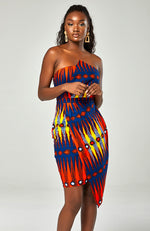 Ankara Asymmetric Tube Fold Over Strapless Red Midi Dress - JERICA