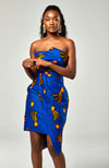 Ankara African Print Asymmetric Tube Fold Over Strapless Midi Dress - Sheila
