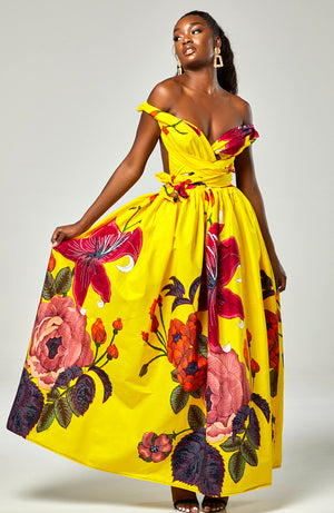 African Print Yellow Infinity Multiway Maxi Dress - CARLA
