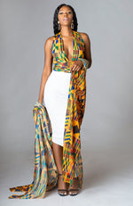 African Print Swimwear SET Infinity Bodysuit with Head wrap & Kimono - MAHALIA