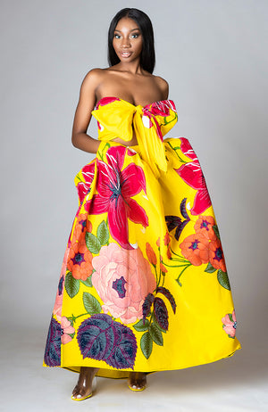 Women African Wax Print Floral Bold Print Maxi Skirt Yellow & Scarf - CARLA
