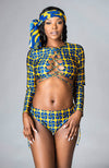 African Print Swimsuit Long Sleeve Crossfront Crop Top Bikini - Martina